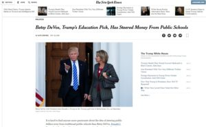 Betsy DeVos Trump's Education Pick Has Steered Money From Public Schools The New York Times
