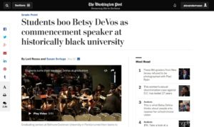 Students boo Betsy DeVos as commencement speaker at historically black university The Washington Post