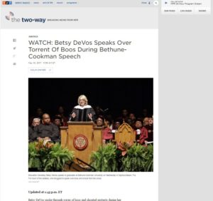 WATCH Education Secretary Betsy DeVos Speaks Over Torrent Of Boos During Bethune Cookman Speech The Two Way NPR