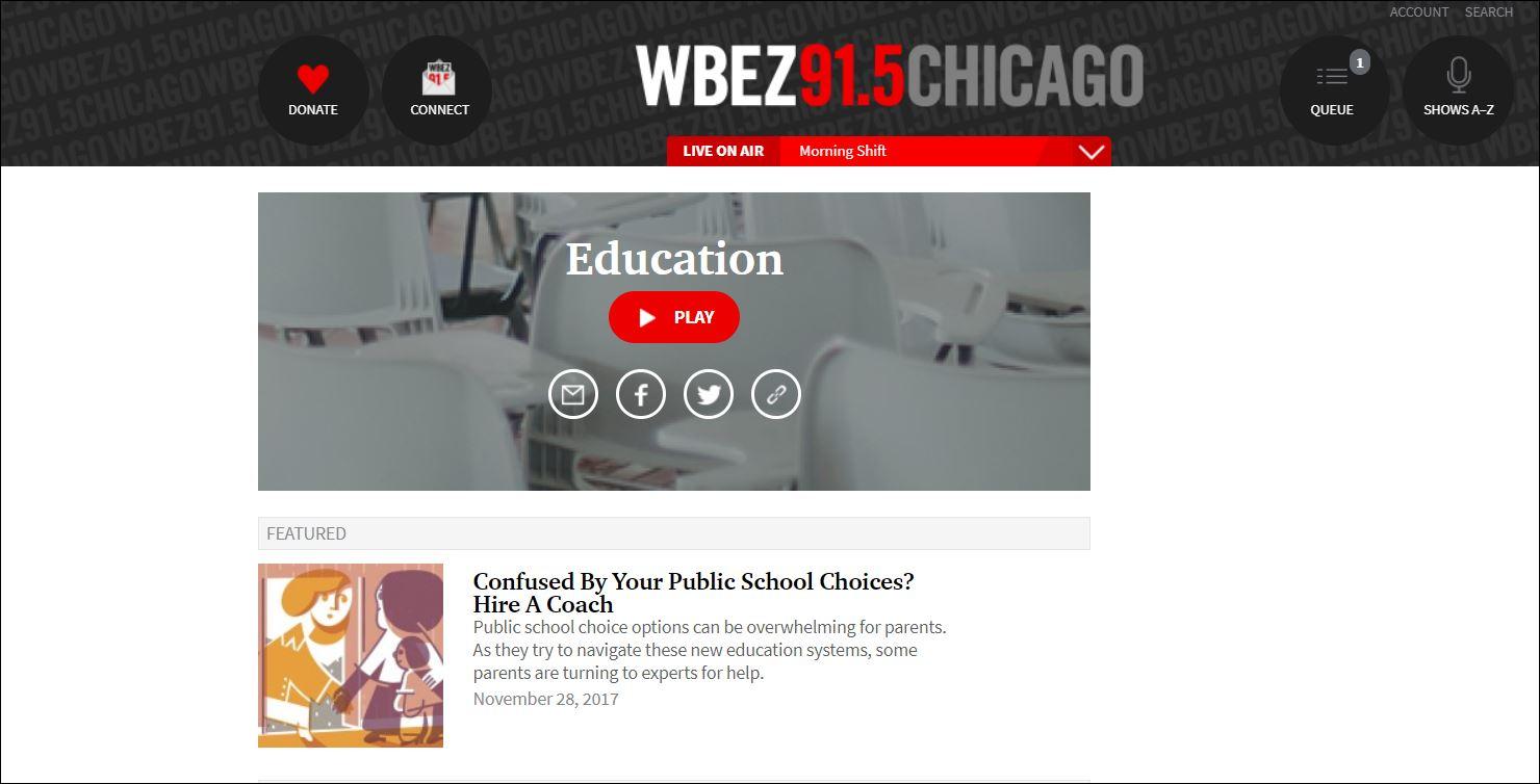 wbez education page
