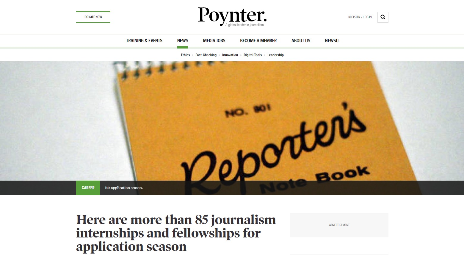 Here are more than 85 journalism internships and fellowships for application season Poynter