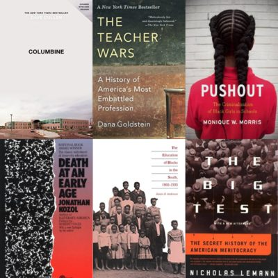Montage of 11 books education reporters recommended for other education reporters.