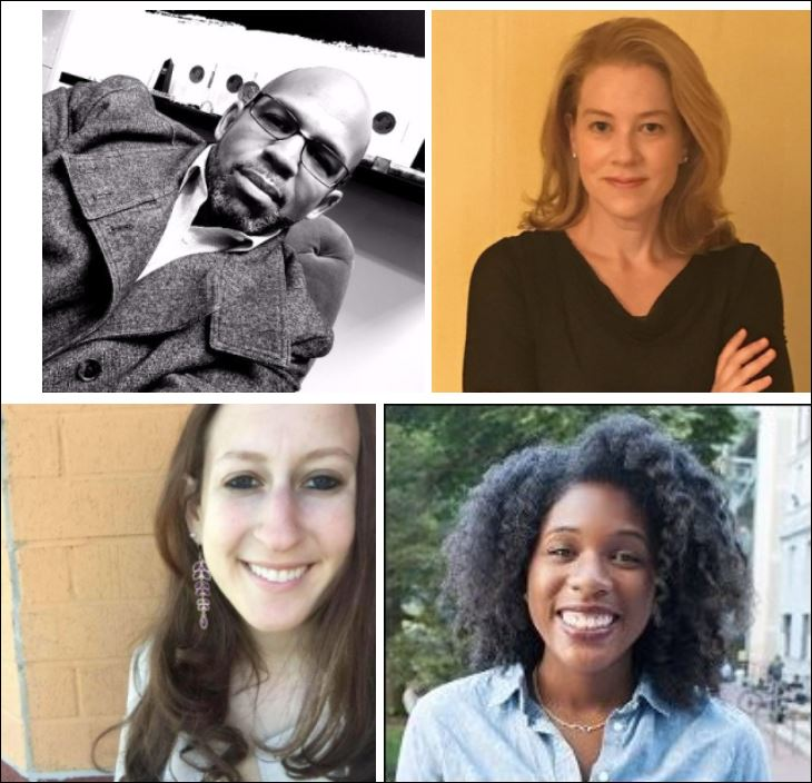 Clockwise from upper left: Reveal fellowship co-director Martin Reynolds, EWA public editor Emily Richmond, Columbia J-School fellowship alumna Alexandria Neason, and The American Prospect fellowship alumna Rachel Cohen.