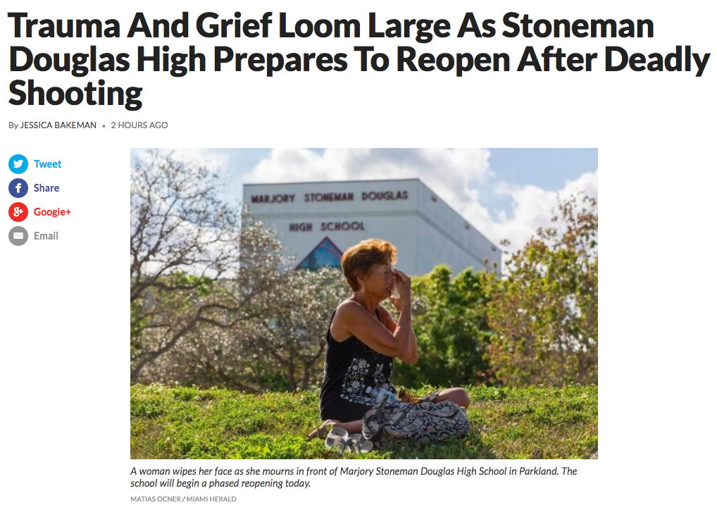Image from a recent story from WLRN public radio about the return to classes at MSD high school today: Trauma And Grief Loom Large As Stoneman Douglas High Prepares To Reopen After Deadly Shooting