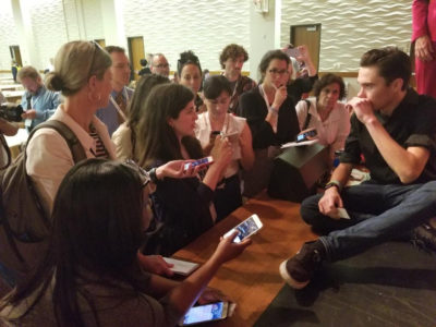 Student activist David Hogg surrounded by education journalists at #EWA18