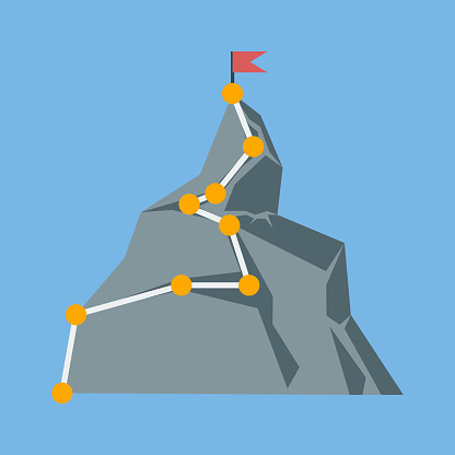 Mountaineering sign. Climb to the top. The concept of business success. Vector