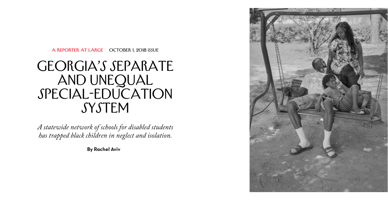 """Georgia's Separate and Unequal Special-Education System"" by Rachel Aviv. When Seth, who has autism, was four, he was placed in a new school. A family member described it as a kind of ghost town. Photo by LaToya Ruby Frazier for The New Yorker."