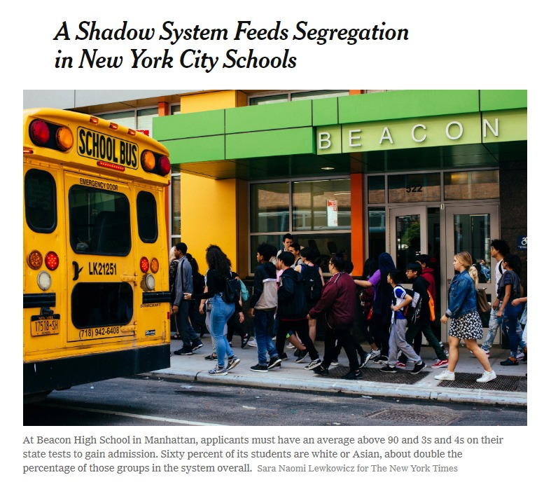 A Shadow System Feeds Segregation in New York City Schools The New York Times