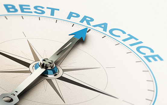 3D illustration of a compass with needle pointing the text best practice
