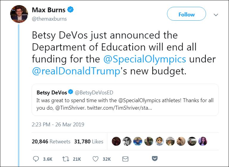 max burns devos special olympics